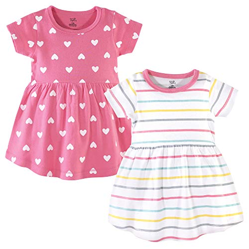 Hudson Baby Baby and Toddler Girl Cotton Dresses, Candy Stripes, 0-3 Months
