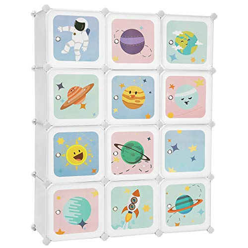 SONGMICS Kids Toy Cube Storage Organizer, 12-Cube Plastic Storage Unit with Doors, for Closet, Kid's Room, Living Room, Shoes Clothes Toys, Easy to Assemble, Stellar Motifs, White ULPC901W