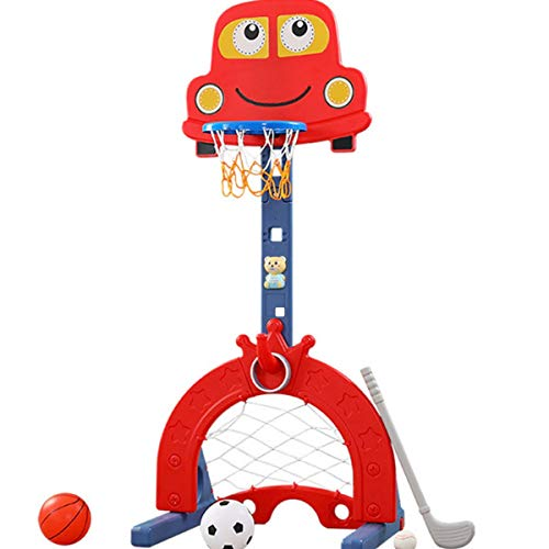 Basketball Hoop Set Stand for Kids for Indoor & Outdoor 5-in-1 Sports Activity Center Adjustable Easy Score Basketball Hoop Football Soccer Goal Ring Toss Golf Game Toy for Baby Infant Toddler Red