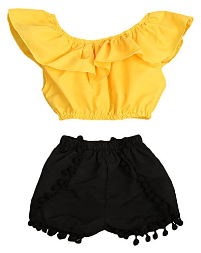 Imcute Cute Baby Girls Short Sleeve Blouse Tube Top+High Waist Pom Pom Short Pants (3-4 Years, Yellow)