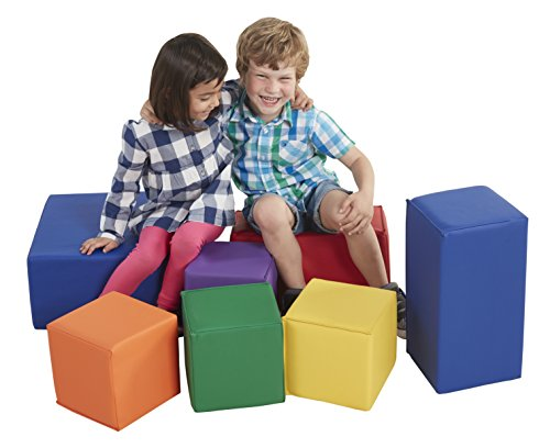 ECR4Kids ELR-0832 SoftZone Foam Big Building Blocks, Soft Play for Kids, Phthalate-Free Big Blocks, Primary Preschool Learning Toys, Toddler Learning Toys, Baby Learning Toys, Stacking Blocks, 7-Piece Set