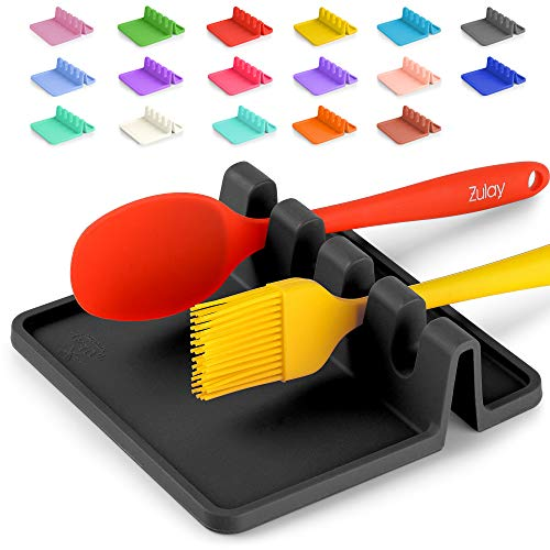 Silicone Utensil Rest with Drip Pad for Multiple Utensils, Heat-Resistant, BPA-Free Spoon Rest & Spoon Holder for Stove Top, Kitchen Utensil Holder for Spoons, Ladles, Tongs & More - by Zulay (Black)