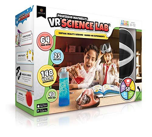Professor Maxwell's VR Science Lab Virtual Reality Kids Science Kit, Book and Interactive Learning Activity Set