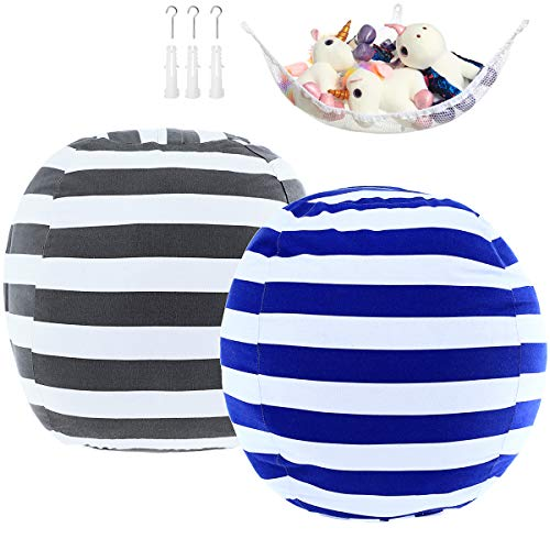 "2 Pack Stuffed Animal Storage Bean Bag Cover Sack 24"" for Kids Room DIY Bean Bag Chair Covers Only White Grey Blue Strips"