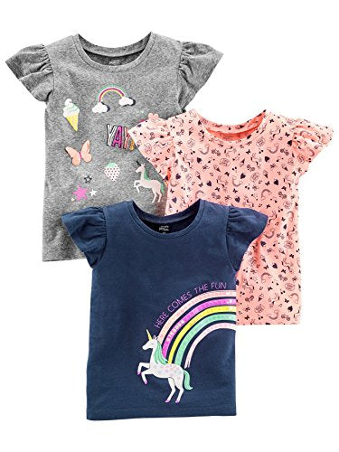 Simple Joys by Carter's Baby Girls' Toddler 3-Pack Graphic Tees, Gray, Pink, Navy Unicorn, 5T