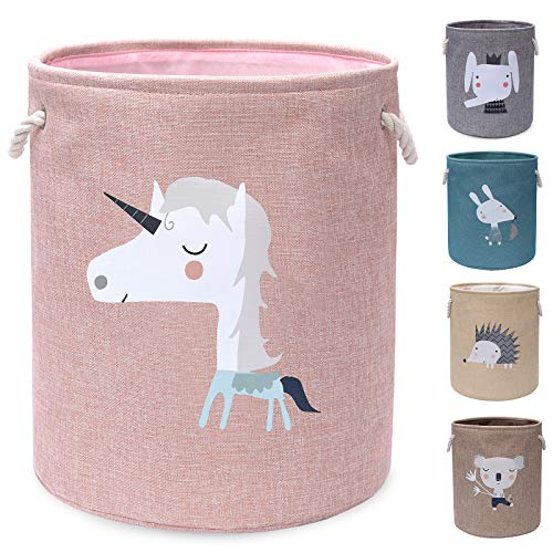 AXHOP Foldable Laundry Basket, Toy Basket Storage Baskets for Kids, Dog, Toys, Clothes, Room Décor. Cute Animal Laundry Hamper (Pink Unicorn)