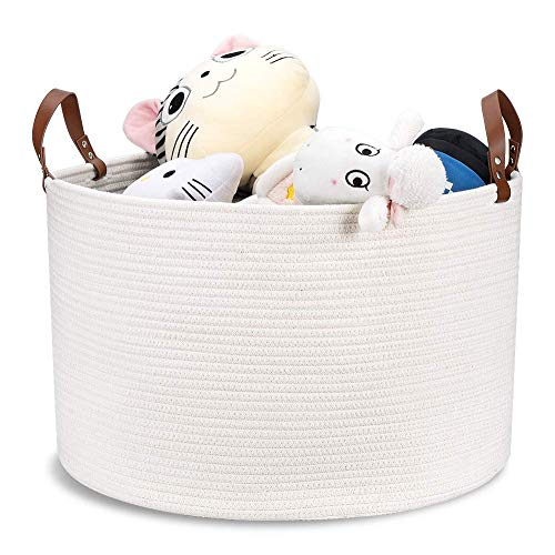 "Woven Storage Basket XXLarge Cotton Rope Storage Basket 20""x13"" Blanket Basket with Leather Handles, Woven Laundry Basket Nursery Hamper Toy Storage Basket - Cream White"