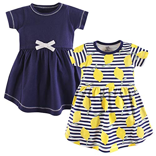 Touched by Nature Girls' Organic Cotton Short-Sleeve Dresses, Lemons, 4-Toddler