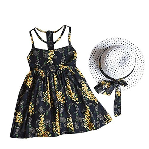 3PCS Little Girls Summer Outfits Clothes Floral Vest T-Shirt Tops +Shorts Pants+Sun Hat Set (Black, 6-7 Years(15))
