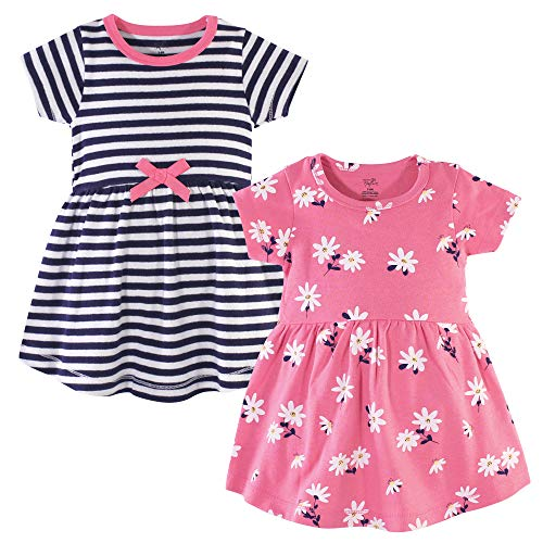 Hudson Baby Girl's Cotton Dressess, Pink Daisy, 3 Toddler
