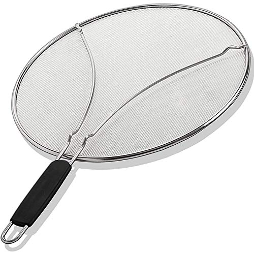 "Grease Splatter Screen for Frying Pan 15"" - Stops 99% of Hot Oil Splash - Protects Skin from Burns - Splatter Guard for Cooking - Iron Skillet Lid Keeps Kitchen Clean - Stainless Steel (15 inch)"