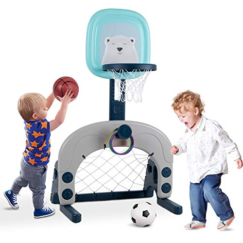 Joolihome Basketball Hoop Set Stand, 3 in 1 Activity Center, Easy Score Sports Set for Basketball, Football/Soccer Goal, Ring Toss, Indoor and Outdoor 23 Height Adjustable Kids Playset