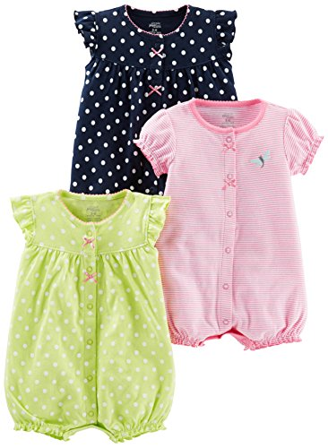 Simple Joys by Carter's Baby Girls' 3-Pack Snap-up Rompers, Navy Dot/Pink Stripe/Yellow Dot, 24 Months