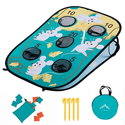 Himal Corn-Hole-Boards with Bean-Bag-Toss-Game Collapsible Portable 5 Holes Cornhole-Set with 10 Bean Bags Roman Tic-Tac-Toe Game 2-in-1 Game Boards for Kid's (3 x 2-feet)