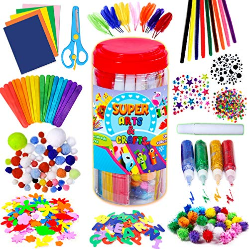GoodyKing Arts and Crafts Supplies for Kids - Craft Art Supply Jar Kit for Student Age 4 5 6 7 8 9 10 Year Old Crafting Activity - Collage Arts Set for Toddlers Preschool DIY Classroom Home Project
