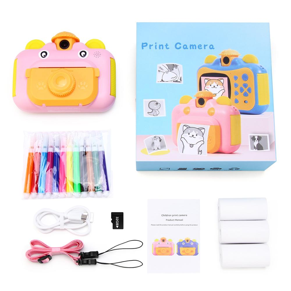Instant Print Digital Camera for Kids, Rotatable Lens 1080P HD ,Children Camera with Thermal Photo Paper 32GB TF Card