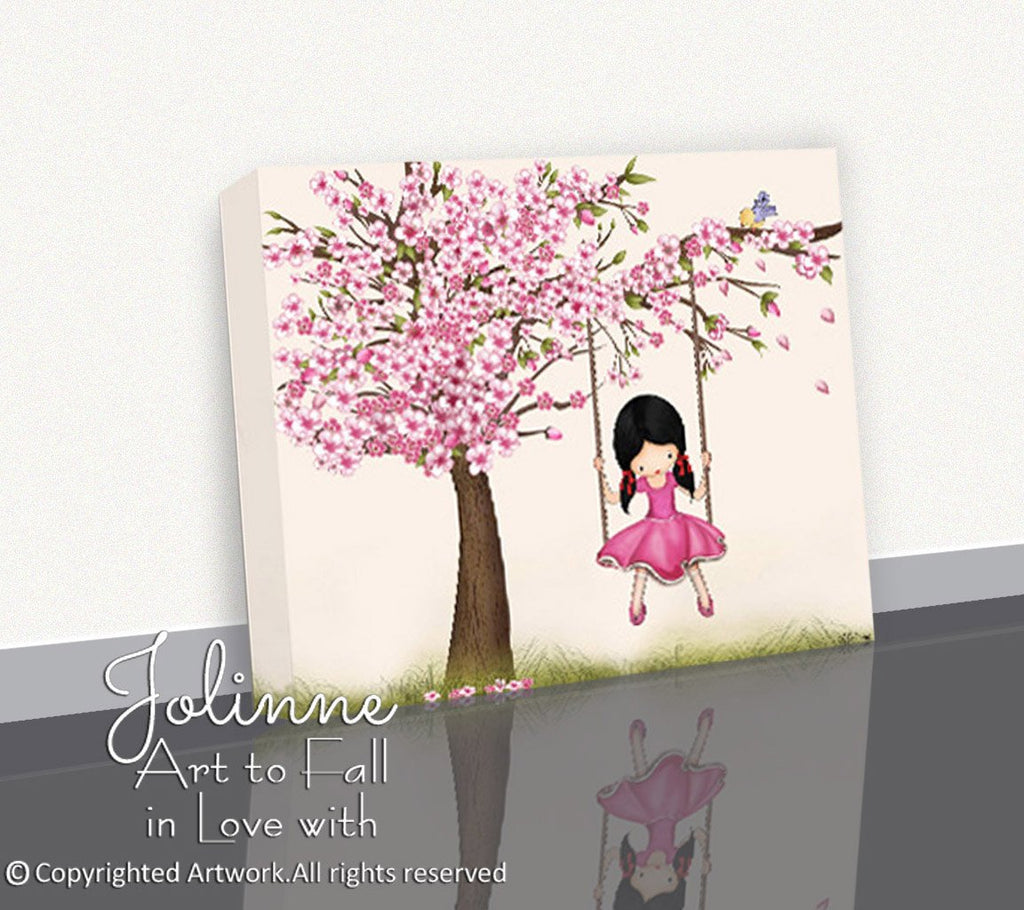 "Cherry Blossom Tree Girl Canvas Print ""My Special Place""-Jolinne"