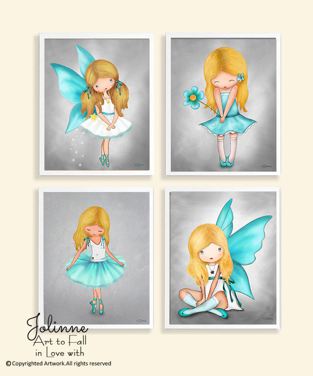 Girls Posters Turquoise Gray, Room Wall Art Decoration-Jolinne