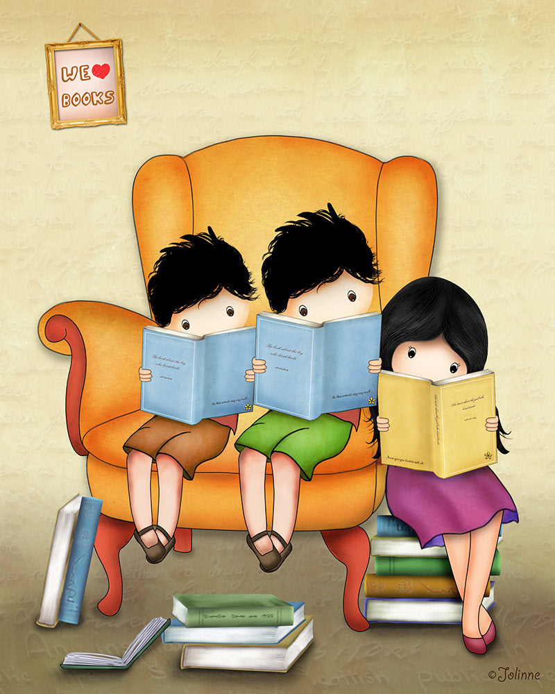 Brothers Sisters Books Reading Wall Art-Jolinne