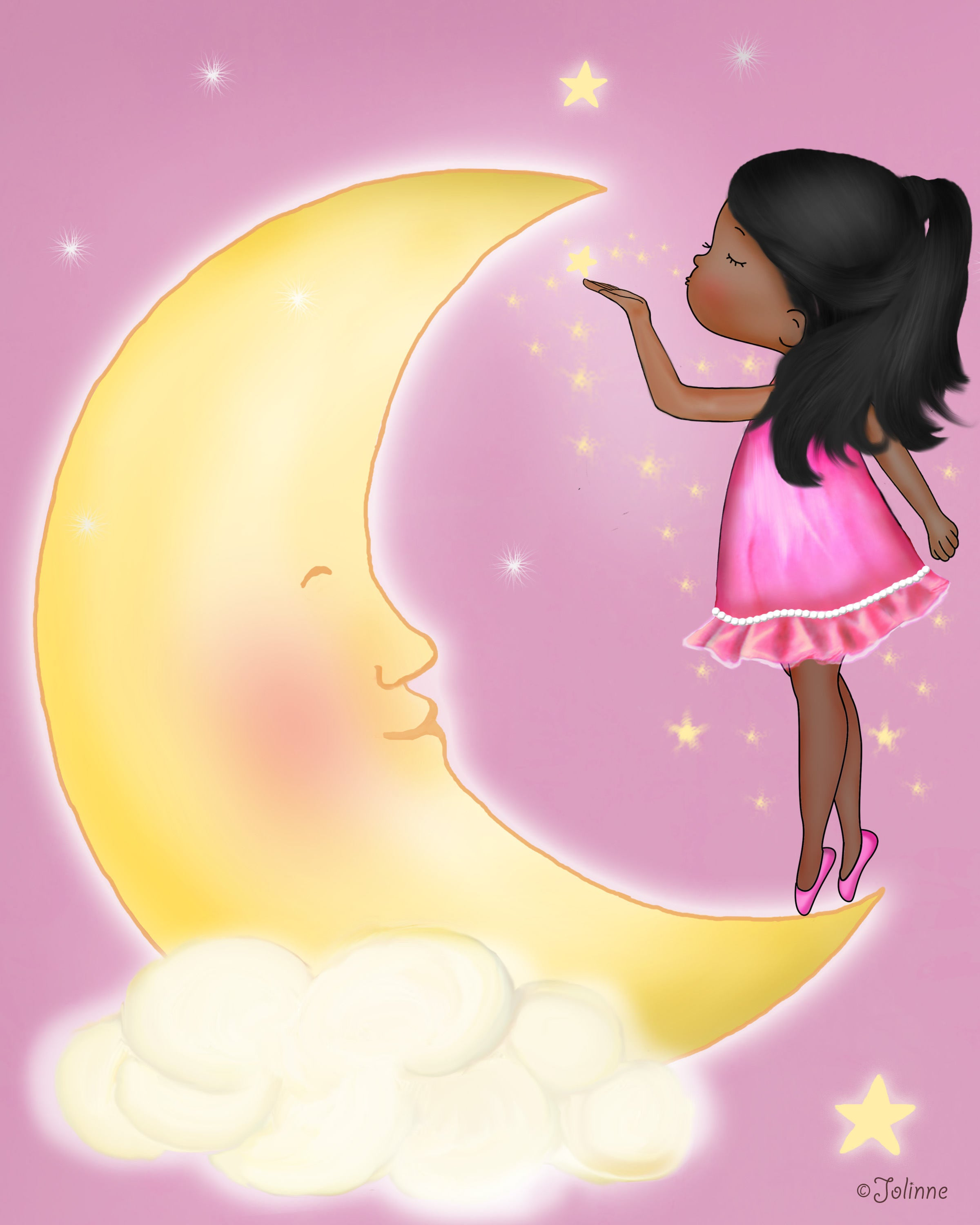 Baby Girl And Moon Nursery Art Prints | Jolinne