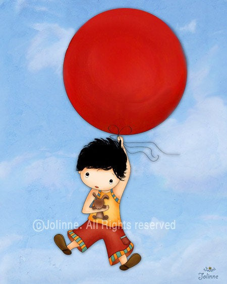 Boy With Red Balloon Wall Art Print-Jolinne
