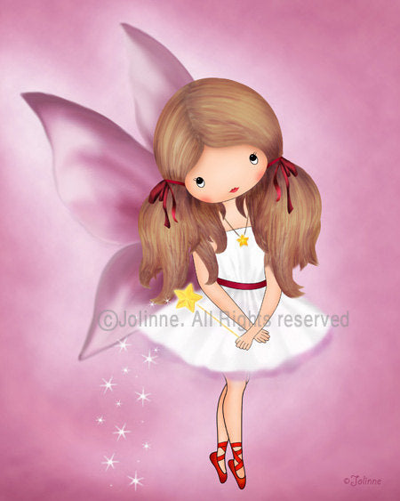 Fairy Girl Pink Wall Art Print-Jolinne