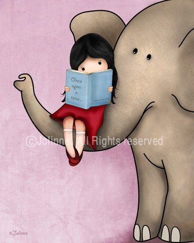 Girl Reading A Book On An Elephant Wall Art (Pink)-Jolinne