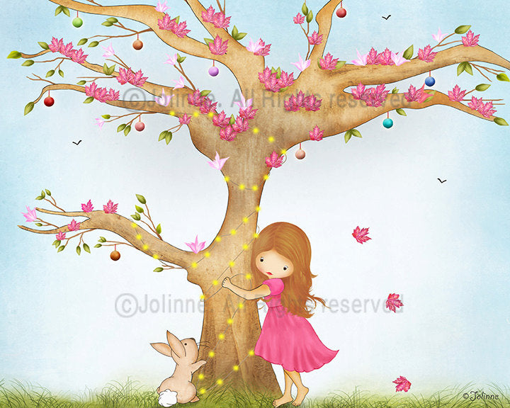 Girl And Bunny Playing Hide & Seek Wall Art-Jolinne