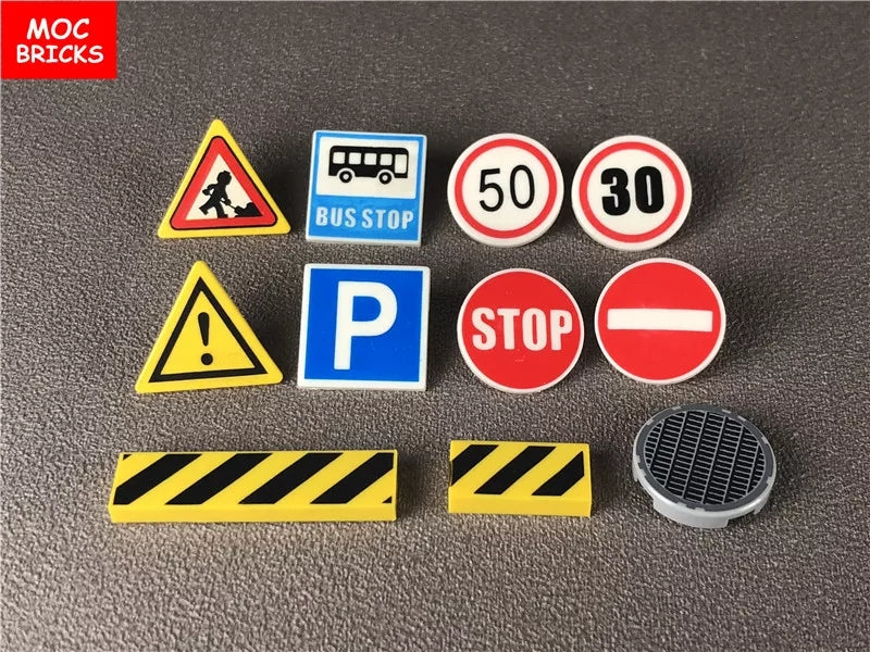 compatible with lego road signs printed