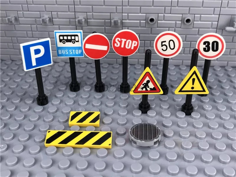 Printed road work signs for mocs