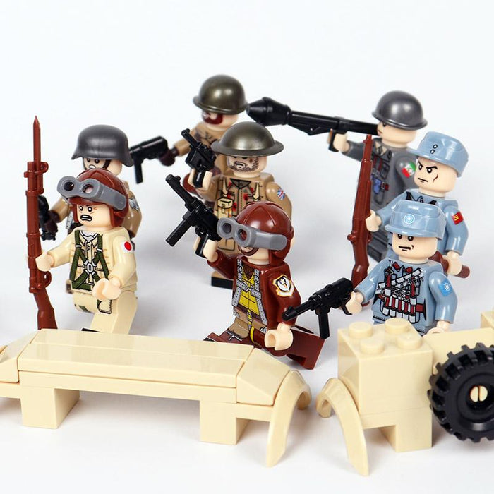 WW2 mixed nations figures bundle compatible bricks