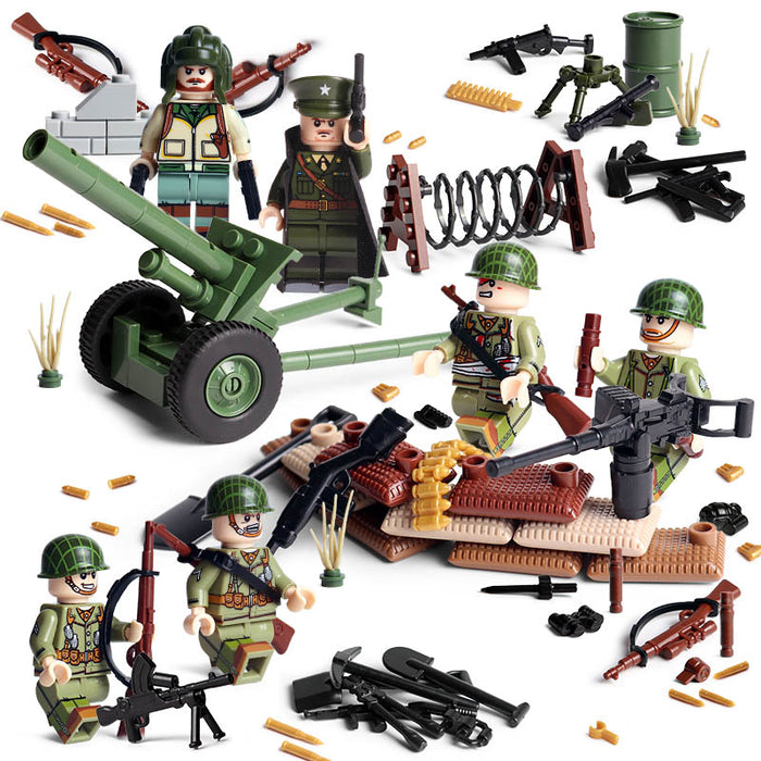 WW2 American infantry figures compatible bricks