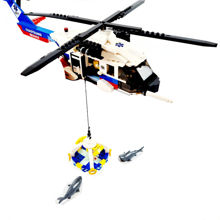 Custom brick built coast guard rescue helicopter