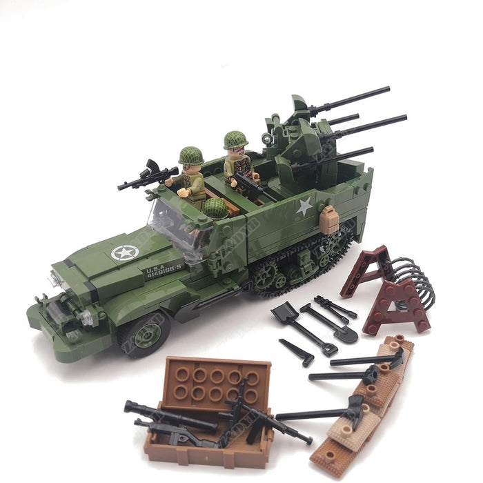 WW2 M16 half track carrying troops and weapons