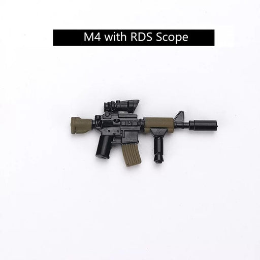 brick built M4 carbine with RDS scope toy bricks