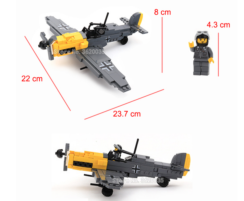 Bf 109 fighter plane building block toy model