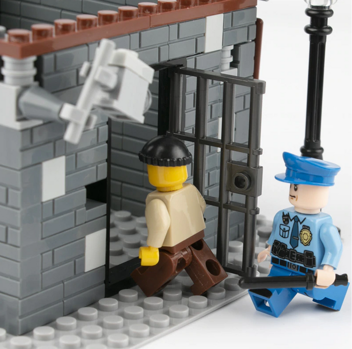 custom police figures and jail cell toy