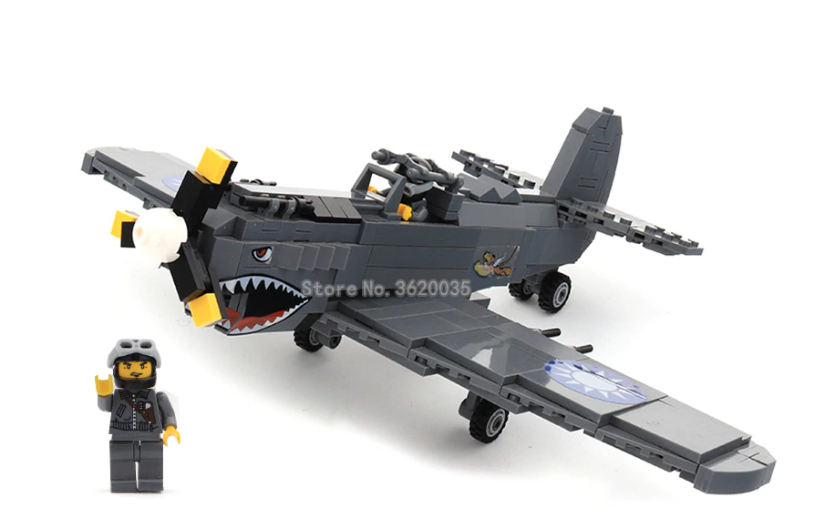 custom lego P-40 curtis fighter aircraft