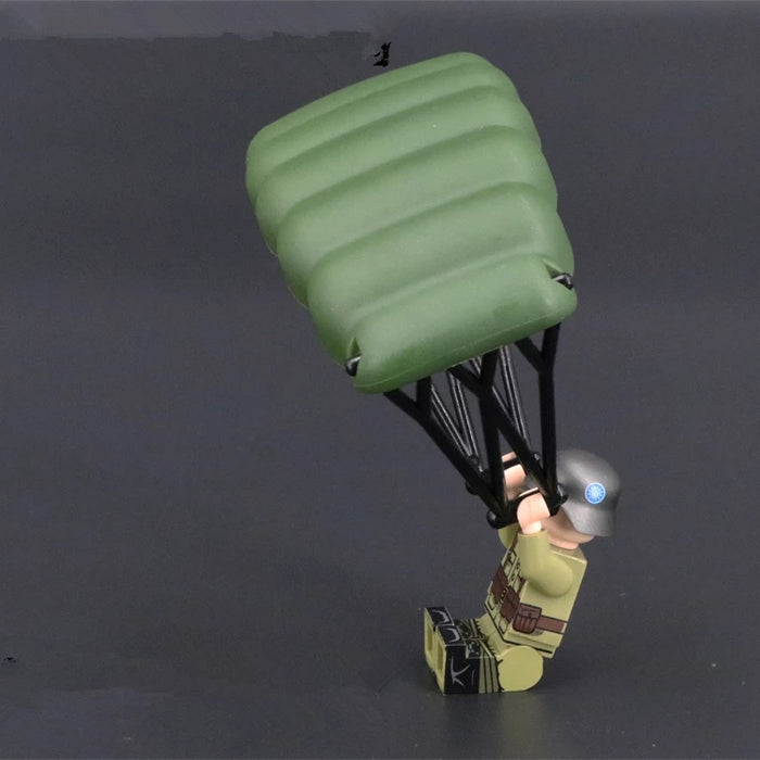 Airborne trooper using a Cruciform parachute