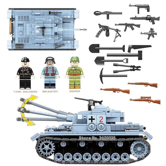 German army Panzer toy tank compatible lego army