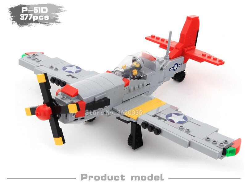 compatible lego P-51D fighter