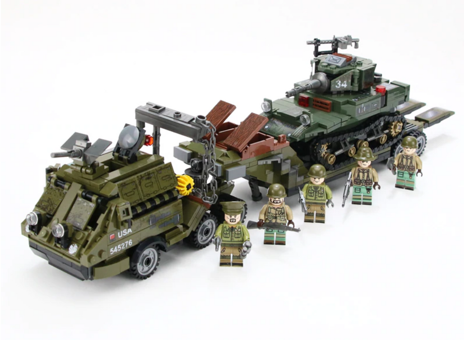 compatible lego ww2 tank transporter