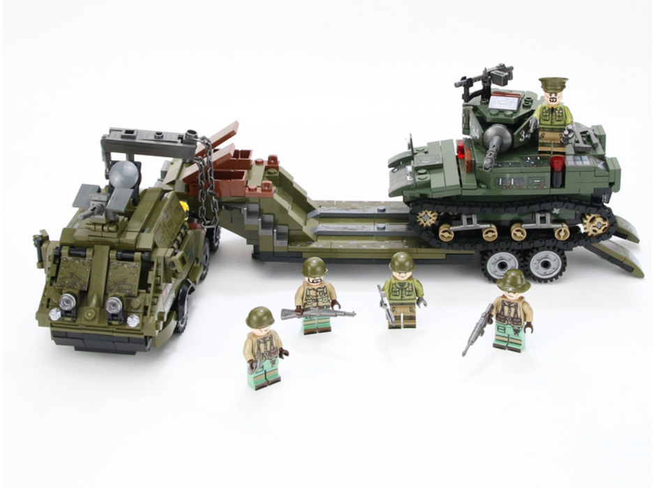 custom lego ww2 us army M25 tank transporter and M3 Stuart tank
