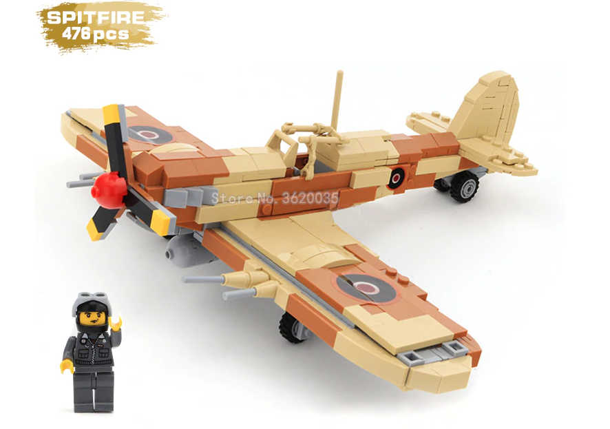 Custom Lego British Supermarine Spitfire aircraft