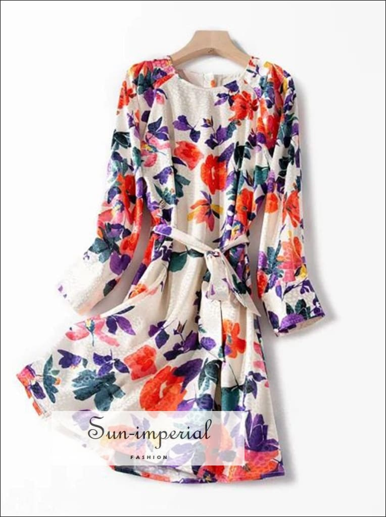 100% Silk Cream Flower Print Long Sleeve Mini Dress with Waist Tie Sashes and Leopard detail SUN-IMPERIAL United States