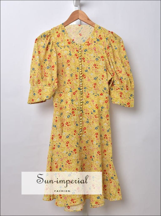 100% Silk Short Flare Sleeve Floral Print Mini Dress with Buttons detail vintage style SUN-IMPERIAL United States
