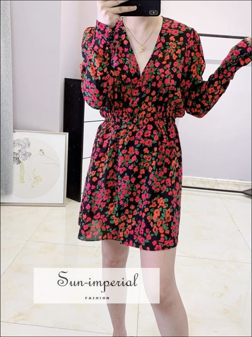 100% Silk Women Vintage Dress Waist Camellia Floral Print Mini SUN-IMPERIAL United States