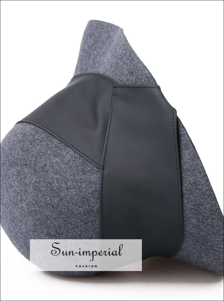 100% Wool Bucket Hat Women Elegant Winter Hats with Leather Trim black, bucket hat, grey, vintage SUN-IMPERIAL United States