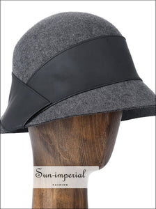 100% Wool Bucket Hat Women Elegant Winter Hats With Leather Trim black bucket hat grey hat vintage SUN-IMPERIAL United States