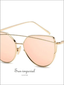 17 Colors Metal Sunglasses Women Luxury Cat Eye Mirror Rose Gold Vintage Cateye Sun Glasses SUN-IMPERIAL United States